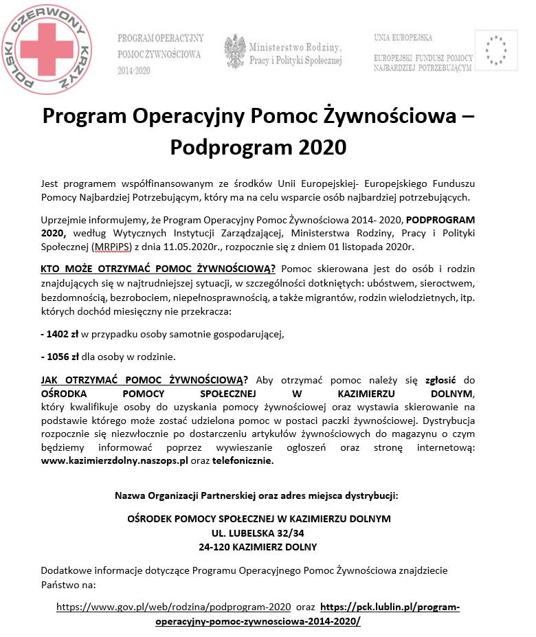Skan ulotki dot. Programu Operacyjnego Pomoc żywnościowa 2020
